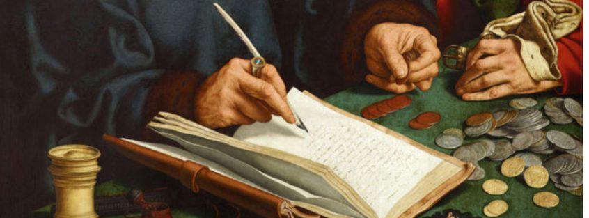 """Quinten Massys, """"Tax Collectors"""", 1520."""